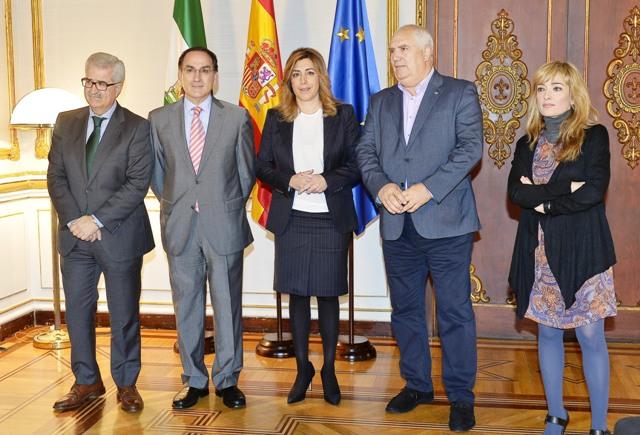 Reunión del presidente de la CEA y los secretarios generales de los sindicatos con la presidenta de la Junta de Andalucía