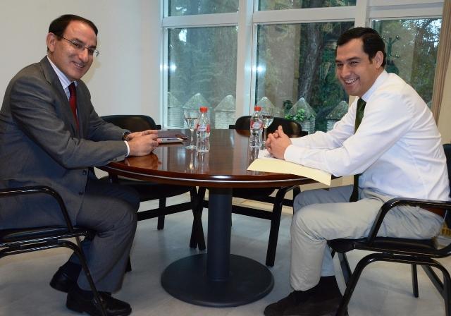 Juanma Moreno y González de Lara se han reunido esta mañana en la sede del PP andaluz